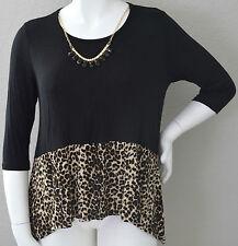 Best Cody Leopard Animal Print Hi-Lo Tunic Top Blouse w/ Necklace Plus 2X 3X New