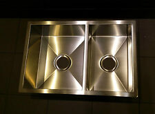 SQUARE 1 3/4 Double Bowl Stainless Steel Kitchen Sink Undermount/Topmount