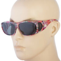 POLARIZED Rhinestone cover put over Sunglasses wear Rx glass fit driving LARGE b