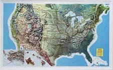 Vrai 3D Carte Du Relief USA Bord Mcnally Format Paysage 90x56cm #100405