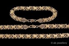 Men's New 10mm 18K Gold Filled Byzantine Necklace 24inch chain and bracelet set