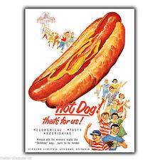 Letrero de metal placa de pared Hot Dog Hotdogs Americana Retro De colección cartel anuncio