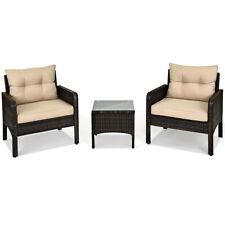3PCS Outdoor Rattan Conversation Furniture Set Patio Garden Cushioned Sofa Chair