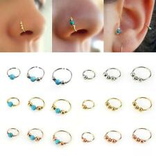 3Pcs/Set Cool Turquoise Round Beads Nose Ring Body Piercing Jewelry 6/8/10mm