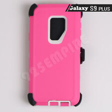 For Samsung Galaxy S9 Plus Pink/White Defender Case (Clip Fits Otterbo