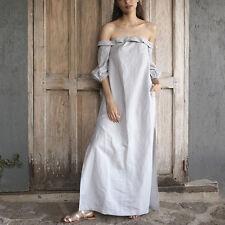 New Sexy Fashion Cotton Linen Off Shoulder Party Split Long Maxi Dress Plus Size