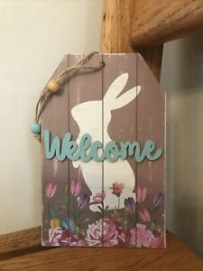 "Welcome Bunny Rabbit Spring Sign Tiered Tray Shelf Sitter Farmhouse 6.5"" x 4.25"""