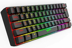 60% Gaming Keyboard USB Wired 61 Keys RGB LED Backlit for PS4 PC MAC Office Game