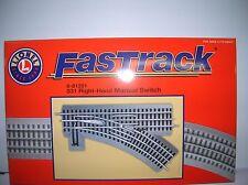 "Lionel "" Fastrack 031 RH  Manual Switch "" 6-81251 list $ 49.99 lot # 10285"