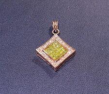 14k Rose Gold 1.00ct Prong / Invi Set White & Canary Diamond Square Pendant