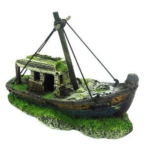 New Aquarium Fish Tank Landscape Ship Resin Boat Ornament Aquarium Decoration
