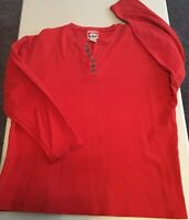 Vintage Marlboro Men's Size L Red Button Up Long-Sleeve Henley Shirt