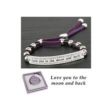 Equilibrium Love You Friendship Bracelet Leather, Amethyst, Silver Plated