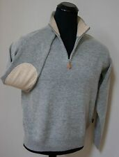 NEW AUTHENTIC BOSS HUGO BOSS L Size GRAY WOOL 1/2 ZIP SWEATER