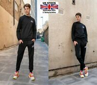 Mens Tracksuit set Sweatshirts and Joggers Fleece in plain Black by Stan Outfit