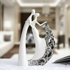Abstract Kissing Couple Figurine Statue Office Ceramic Sculpture Ornament