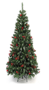 New Artifical Green 4ft/5f/6ft Red Berries and Pine Cone Christmas Tree New !