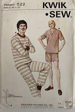 Kwik Sew Pattern 522 Men's PJ's Size S-M-L-XL UNCUT Short/Long Pants Top Stretch