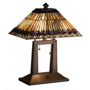 "20""H Tiffany Jeweled Peacock Oblong Desk Lamp"