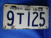 ONTARIO LICENSE PLATE 1954 9T125 VINTAGE CANADA ANTIQUE CAR SHOP GARAGE SIGN