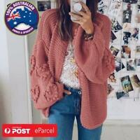 Oversized  Loose Knitted Cardigan Lantern Sleeve Heart Crochet Pink Love Heart