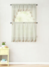 Beige 4 Pc Window Curtain Set: Taupe Ivory Macrame Border, 2 Swag 2 Tiers Panel