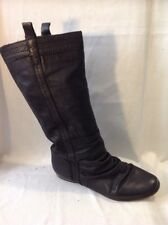 Schuh Black Mid Calf Leather Boots Size 40