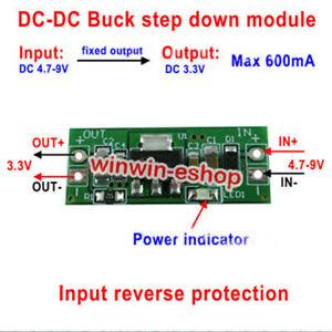 2PCS DC-DC  5V-9V 5V 6V to 3.3V 600mA Buck Step Down Converter Voltage Regulator
