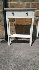 H80 W60 D20cm BESPOKE CREAM CONSOLE HALL TELEPHONE TABLE 2 DRAWERS REAL OAK TOP