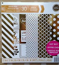 Craft Smith 30 sheets Gold Foil 12x12-Inch Paper Pad Craft Art Scrapbooking