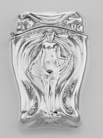 Art Nouveau Style Repousse Nude Match Safe In Fine Sterling Silver