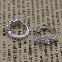 Womens Small Round Sleeper Huggie Gift 925 Sterling Silver Plated Hoop Earrings