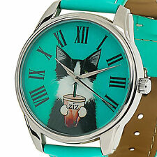 Green Dial Leather Quartz Wrist Watch Cat Fashion Analog Casual Womens Watches