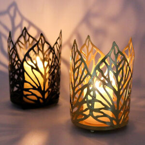 Metal Leaves Tealight Candle Holder Candlestick Table Wedding Party Decoration