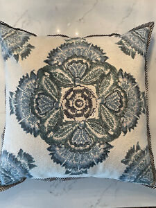 Pottery Barn Medallion Green/ Blue/multi Color  Pillow Cover 24x24 Square