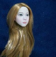 "1/6 Female Princess Girl Kid Doll Gold Long Hair Custom Head Sculpt F 12"" Figure"