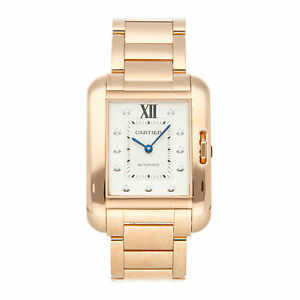 Cartier Tank Anglaise Large Model Auto Rose Gold Diamonds Ladies Watch WJTA0005