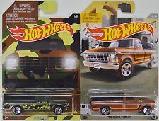 Hot Wheels Walmart: 2015 CAMO & 2016 RAD TRUCK SERIES '79 Ford Pickup - LOT of 2