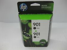 HP 901 Black Ink Genuine Twin Pack CZ075FN ** SHIPS OVERBOXED ** Date: Mar 2020