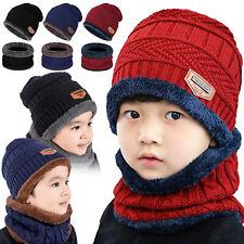 Kids Hat Scarf Set Warm Fleece Knit Beanie Cap Scarf Cover For Children Boy Girl