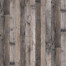 Gray Wood Wallpaper Peel And Stick Faux Plank Paper Look Contact Paper Reclaimed