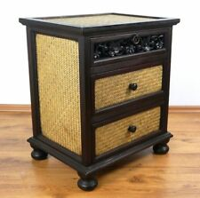 Asian chest of drawers solid wood and rattan furniture handmade Thailand