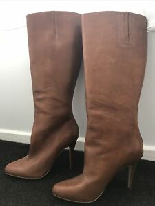 Zoe Wittner Bowm Leather Stiletto Boots Size 39
