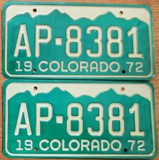 1972 Colorado License Plate Number Tag PAIR Plates