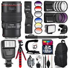 Canon EF 100mm 2.8L IS USM Lens + Color Set + LED Light - 32GB Accessory Bundle