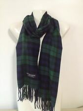 100% CASHMERE SCARF MADE IN SCOTLAND PLAID DESIGN GREEN NAVY COLOR SUPER SOFT