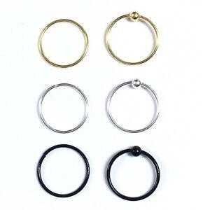 Sterling Silver Ear Nose, Eyebrow, Tragus Ring Piercing Hoop Stud 8-10mm