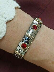 Ruby Swarovski Crystal Bracelet Jewelry Gold 24k New Mom Gıft  2,5ct Hmd Gemston