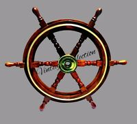 "24""Antique Wooden Ship Steering Wheel Pirate Decor Wood Brass Wall Boat Captain"