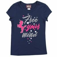 "RMLA Girls Dazzling Unicorn Sparkle T-Shirt ""Free Your Mind"" Navy S M L (7 - 14)"